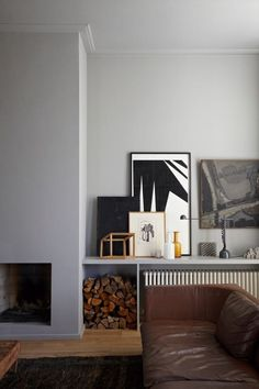 Shelf above radiator, built in storage for firewood