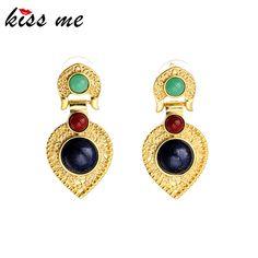Lujo nueva kiss me de color pendientes de oro de joyería de moda accesorios de las mujeres pendientes colgantes