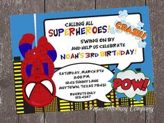 Spiderman birthday party invitation digital file diy printable spideyman superboy birthday invitation 100 by papermonkeycompany 100 filmwisefo