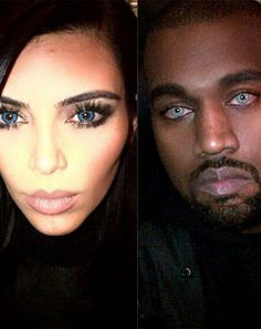 Kim Kardashian tried out blue eyes for the evening on Sunday, Feb. 15, after her husband Kanye West wore trippy contacts during his Saturday Night Live 40th Anniversary special performance