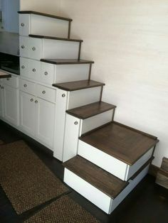 Tiny house stairs with tons of storage space. http://tinyhousechattanooga.com/site/gallery/