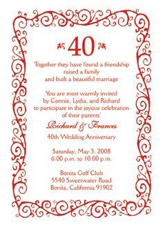 Snowflake Invitations For A 40th Wedding Anniversary