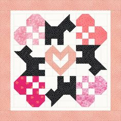 Free babygirl quilt idea, with scot&hearts, design by Dorte Rasmussen Denmark
