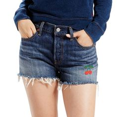 Women's Levi's 501 Ripped Jean Shorts, Size: 3/26, Med Blue