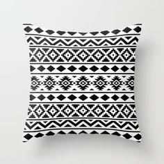 Aztec pattern Black on White Throw Pillow, monochrome accessories trend, black & white pattern pouch, trend bag, scandinavian pattern trend