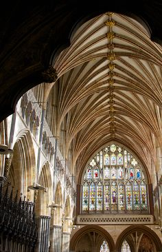 Exeter Quire    Framed in the arch of the great screen the mighty stone vault and east window of Exeter cathedral.