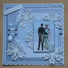 A stunning card made using the free papers and toppers from my making card magazine, I have die cut the snowflakes from glitter card using spellbinders dies, and used adhesive pearls and ribbon from my crafty stash to decorate. Christmas Ideas, Christmas Cards, Xmas, Art Deco Cards, Hunky Dory, Glitter Cards, Art Deco Design, Free Paper, Emboss