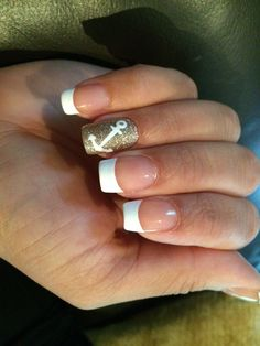 Pretty French Mani with a glitter and anchor accent nail...done by me :)
