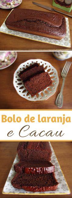 Bolo de laranja e cacau | Food From Portugal. Este bolo vai adoçar o seu dia! É um bolo muito delicioso com a fusão dos sabores incríveis do cacau e da laranja que combinam perfeitamente. Coma uma fatia com chá, é delicioso… #receita #bolo #cacau #laranja