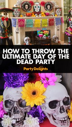 Find out how to throw the ultimate Day of the Dead party with our fantastic Halloween party ideas. Includes decorating ideas and free makeup tutorials. Halloween 2018, Mexican Halloween, Mexican Holiday, Mexican Party, Holidays Halloween, Halloween Themes, Halloween Crafts, Halloween Decorations, Halloween Party