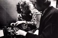 """Jimmy Page while the recording of """"What Is And What Should Never Be"""", at Olympic Studios, London, 1969.:"""