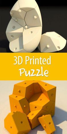 A dozen 3D-printed puzzle pieces fit into the shape of a cube or an egg. A fun way to use a 3D printer!