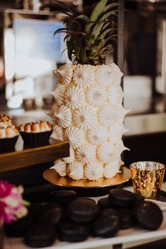 This Little Island Brewing Co wedding styled shoot puts a dark and moody spin on the popular tropical wedding theme, with neon lights that electrify the dark and glamorous styling. Wedding Cake Table Decorations, Wedding Desserts, Wedding Cakes, Island Cake, Meringue Desserts, Wedding Cake Alternatives, Wedding Pics, Wedding Ideas, Classic Cake