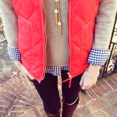 Perfect fall look from Caitlin of Southern Curls & Pearls. Use the red vest to bring a bright pop of color to a neutral sweater.