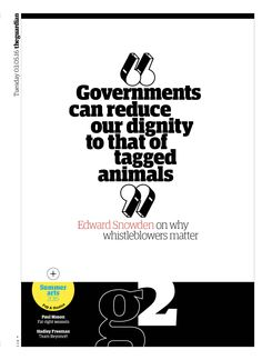 Guardian g2 cover: Edward Snowden extract (why whistleblowers matter).