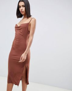 984b41eeb0a6 ASOS Design brown cowl front midi slip dress Piger