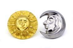 Sun Moon Earrings, Metropolitan Museum Jewelry, Celestial Jewelry, Signed MMA Stud Earrings, Silver And Gold, Gold Plated Pewter Earrings, Two Tone Earrings, Mixed Metal Earrings, Gold Sun Earrings, Silver Moon Earrings, Mismatched Earring, 14K Gold Posts, Museum Of Modern Art Jewelry, Sun And Moon Jewelry, Bold Large Stud Earrings, Modern Contemporary, Sculptural Earrings, Pierced Gold Earrings, Designer Signed, Vintage 90s New York Jewelry, Statement Earrings, Historic Jewelry…