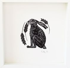 ARTFINDER: Hare by Cally Conway - A handmade black and white linocut, printed in rich black ink. Printed on heavyweight Fabriano Rosaspina archival paper that does not age with time. Part of ...