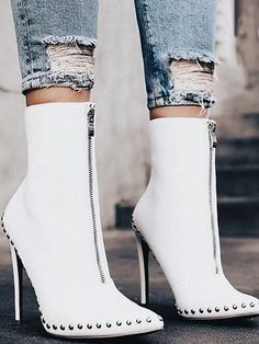 643d187ef65 White PU Stud Detail Pointed Toe High Heeled Ankle Boots