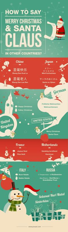 How to Say Merry Christmas & Santa Claus in other Countries? #infographic #christmas #santa