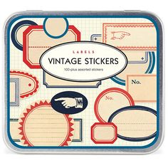 VINTAGE STICKER LABELS - This vintage inspired set includes 24 assorted sheets of decorative stickers, with over 100 labels all together. Size - Outer Tin 12cm x 14cm.