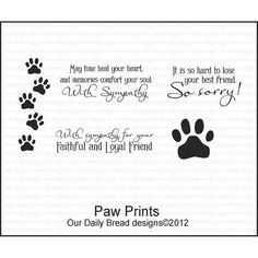 PAW PRINTS Cling Stamp Set by Our Daily Bread Designs New/in original package/never used    This stamp set includes 5 unmounted Rubber art stamps. The