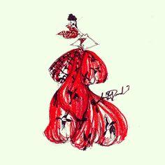 McQueen Monday @worldmcqueen #mcqueen #hornofplenty #couture #red #black #birds #fashionillustration #art #quicksketch #thedailyscribble #illustrator #jamieleereardin