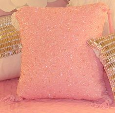 Pink Beaded Pillow