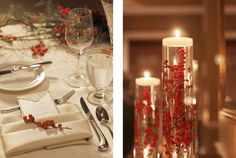 I know you are doing something similar with the floating candles in the cylinder vases... love this look w/ cranberries!