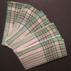 Five Vintage Woven Plaid Napkins - Small Green Plaid Napkins - Green Black Cream