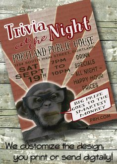 "Trivia Night Flyer ~ Business Event ~ Fundraiser ~ 8.5""x11"" Poster ~ 5""x7"" Digital Invite Invitation by DitDitDigital on Etsy"