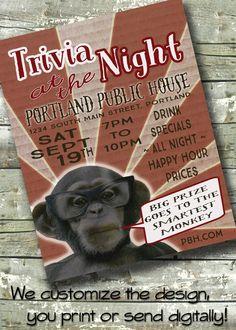 """Trivia Night Flyer ~ Business Event ~ Fundraiser ~ 8.5""""x11"""" Poster ~ 5""""x7"""" Digital Invite Invitation by DitDitDigital on Etsy"""