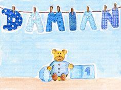 Cuadro bebe letras con nombre en tendedor y un oso con un cubo y una pelota, pintado a mano con pintura y acuarela, para la habitación o cuarto de los más pequeños de la casa. En este caso para Damián