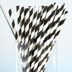 black and white striped paper straws. i should just have these in my house at all times.