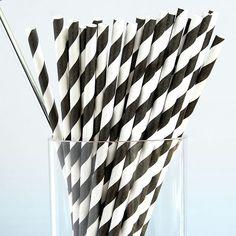 Black & White Striped Paper Straws