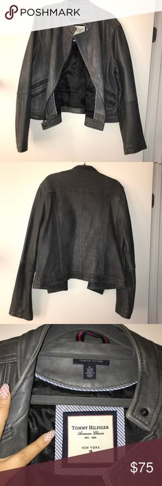 Tommy Hilfiger Gray Leather Moto Jacket Beautiful soft and supple gray grey charcoal leather jacket with lining. Great condition. Barely worn. Tommy Hilfiger XL. Tommy Hilfiger Jackets & Coats