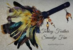 SMUDGE FEATHER FAN for cleansing and clearing ceremonies by CrystalVibrations06 on Etsy  #smudge #fan #turkey http://wandavirgo.com