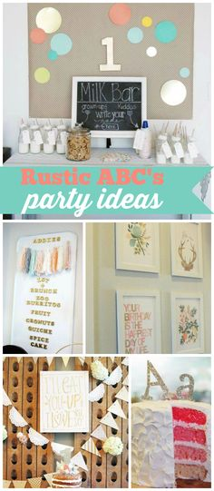 A rustic ABC girl birthday party with a fun photo wall, decorations and favors… Birthday Favors Girls, Abc Party, 1st Birthday Party For Girls, Birthday Themes For Boys, Tea Party Birthday, Party Party, Birthday Party Themes, Party Time, Birthday Ideas