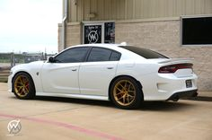 """Did somebody say it's """"Mopar Monday""""? Our friends at Whitehead Motorsports have… Dodge Charger Hellcat, Dodge Srt, Dodge Challenger, Racing Wheel, Mopar Or No Car, Matte Gold, Stage, Trucks, Magic"""