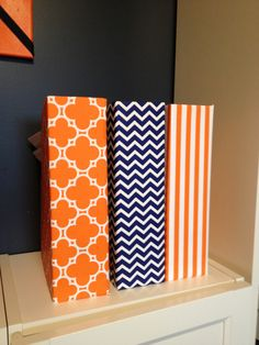 DIY Dollarstore covered file boxes