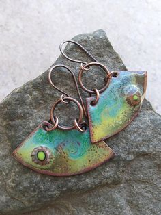 Tidepools ... Artisan-Made Enameled Copper Wedge Charm and Copper Ring Boho, Gypsy, Hippie, Retro, Hoop, Beachy, Ocean Earrings