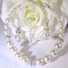 Elegant Wedding or Prom Swarovski Pearl Bracelet and by Caguess1