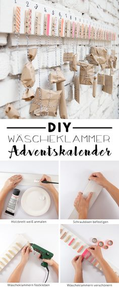 Einfacher DIY Adventskalender mit Wäscheklammern A DIY advent calendar for the pre-Christmas period. Homemade quickly and easily from clothespins and a wooden board. A tutorial from johannarundel. Pre Christmas, Easy Christmas Crafts, Simple Christmas, Xmas, Christmas Clothes, Christmas Fashion, Homemade Advent Calendars, Diy Advent Calendar, Unique Candles