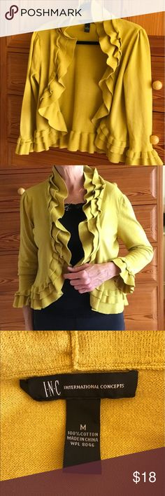 "Sweet Ruffle Sweater/Shrug This is a very cute little sweater or shrug for a chilly evening or to dress up a tank.  The true mustard color shows in the cover photo.  Measurements:  armpit = 19""; 3/4 sleeve; length = 20"". It is marked Medium, but It fits me and I usually wear a Small.  It is in very good/excellent condition.  Smoke/Pet-Free home. INC International Concepts Sweaters Shrugs & Ponchos"