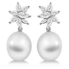 Ladies Paspaley South Sea Cultured Pearl and Diamond Star Shaped Earrings Palladium White Earrings, Pearl Drop Earrings, Pearl Jewelry, Diamond Earrings, South Sea Pearls, Birthstone Jewelry, Cultured Pearls, Jewelry Accessories, Bling