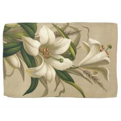Two decorating rabbits hand towel easter giftshousehold decor vintage victorian easter lily flowers in bloom kitchen towels negle Images