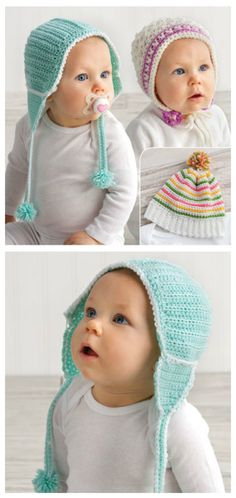 Cute & Cozy Head Covers Crochet Pattern. Three adorable vintage-style hats for boys and girls. Each design is made using Universal Yarn Uptown Baby Sport. Great for shower gifts. Size: fits infants 3 to 6 months.