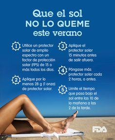 El protector solar puede protegerlo contra las quemaduras de sol y reducir su riesgo de sufrir cáncer o daños a la piel. Consulte nuestros mejores consejos para proteger su piel contra el sol. http://go.usa.gov/3A4Q4