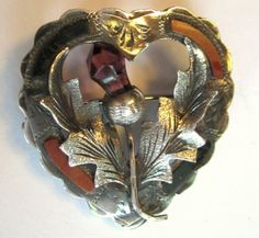 Scottish Sterling Brooch, Heart & Thistle