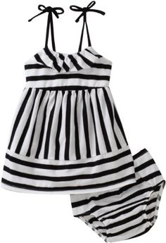 black and white striped baby girl summer outfit